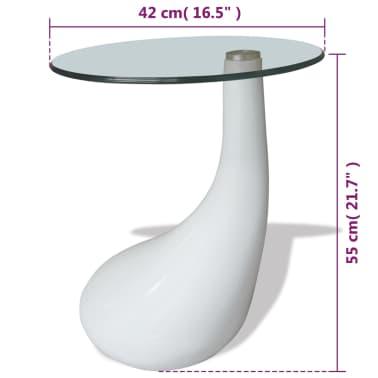 vidaXL Mesa de centro con superficie redonda vidrio blanco brillante[6/6]