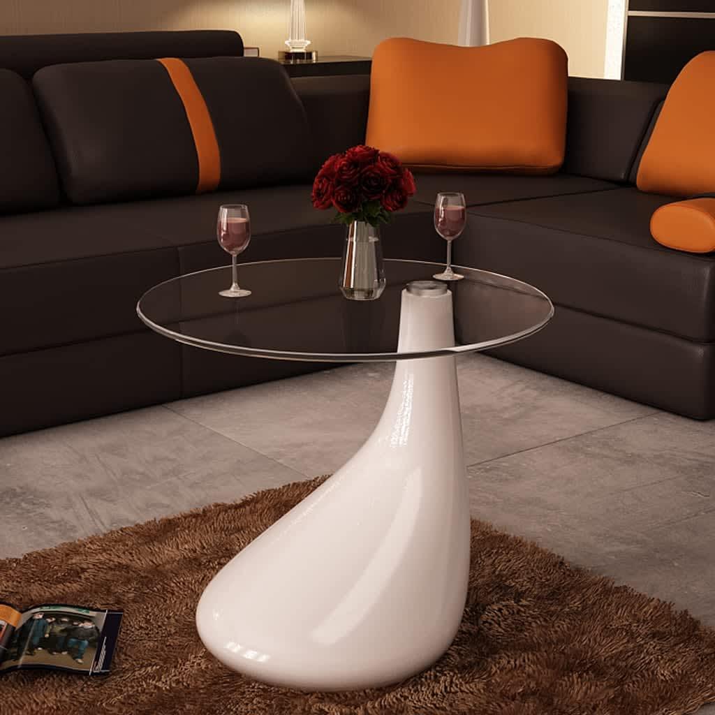 Bílý konferenční stolek ve tvaru kapky
