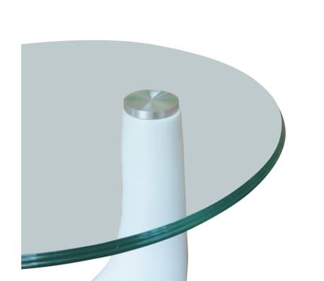 vidaXL Soffbord 2 st med rund bordsskiva i glas högglans vit[5/5]
