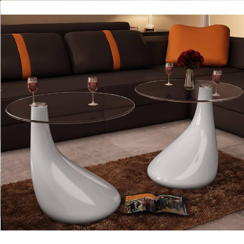 Konferenční stolek , bílá kapková forma , sada 2ks