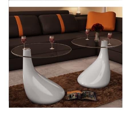 vidaXL Soffbord 2 st med rund bordsskiva i glas högglans vit[1/5]