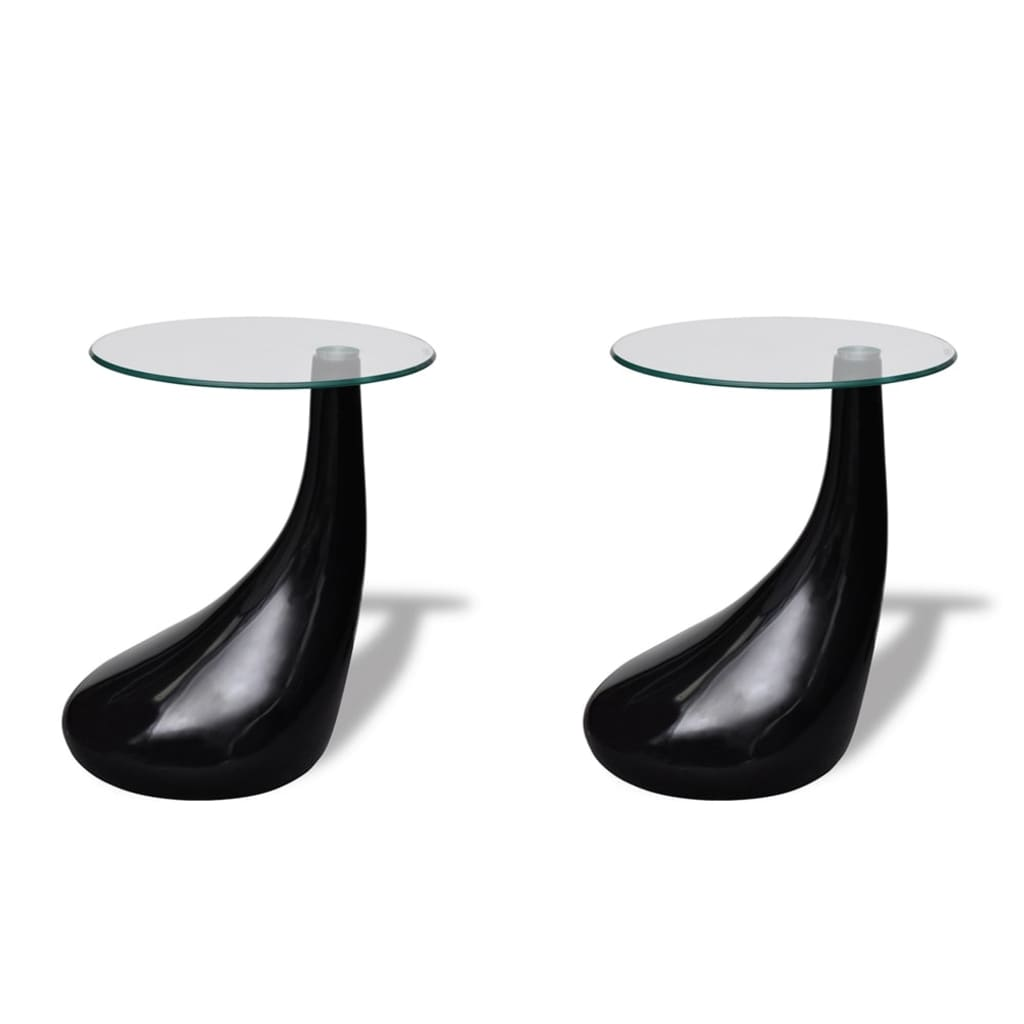 vidaXL Salontafel met rond glazen tafelblad hoogglans zwart 2 st