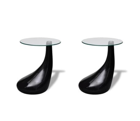 vidaXL Soffbord 2 st med rund bordsskiva i glas högglans svart[2/5]