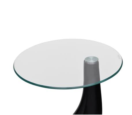 vidaXL Soffbord 2 st med rund bordsskiva i glas högglans svart[4/5]