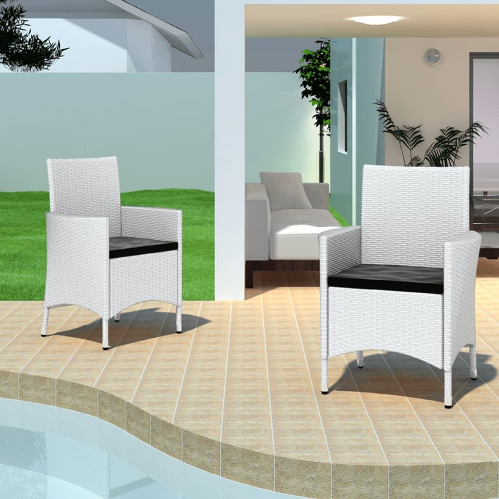 vidaXL Zahradní židle křesla 4 ks polyratan bílé
