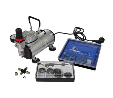 vidaXL Airbrush Compressor Set with 2 Pistols
