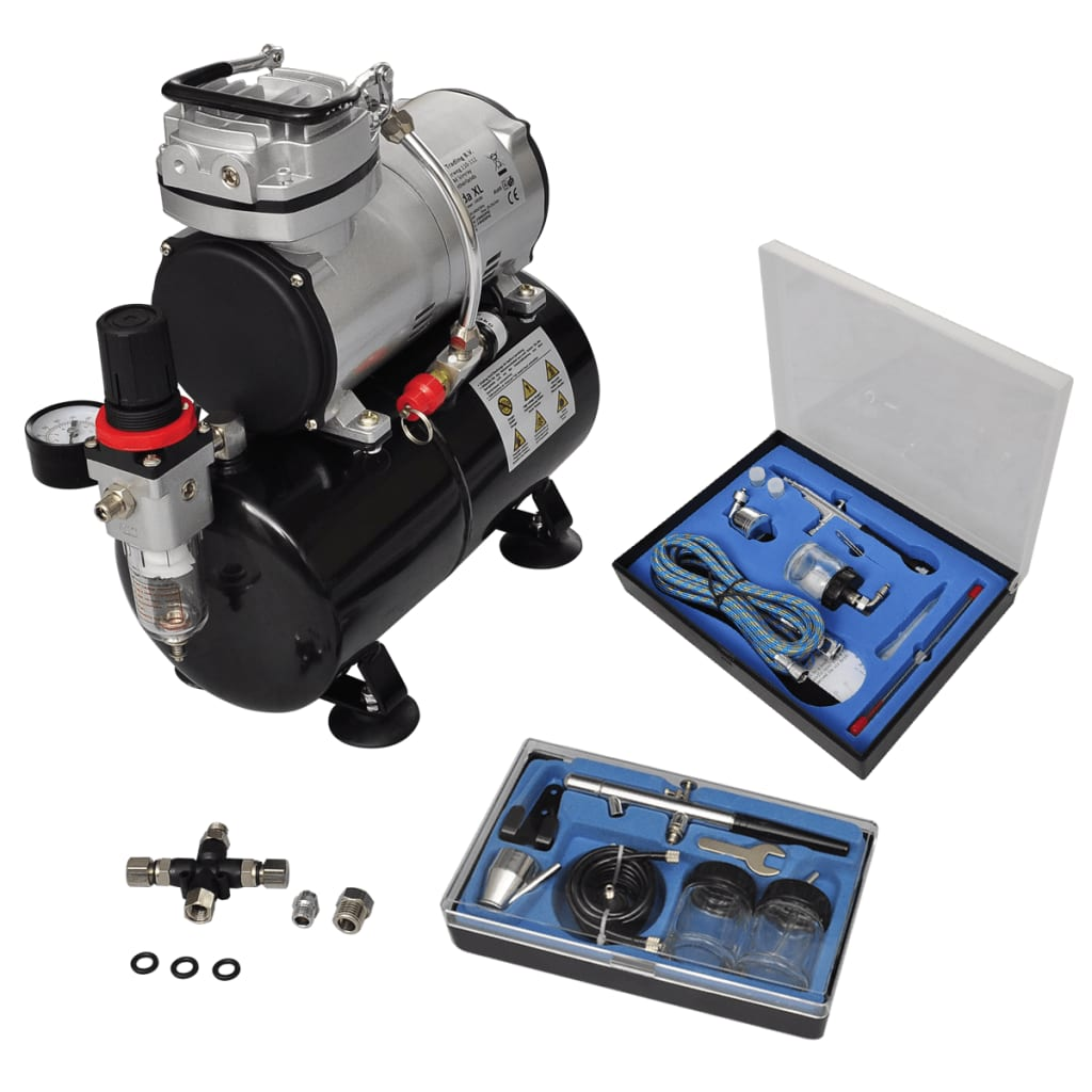 Airbrush Set compresor aerograf cu 2 pistoale imagine vidaxl.ro