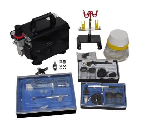 vidaXL Airbrush compressor set with 3 pistols 255 x 135 x 220 mm