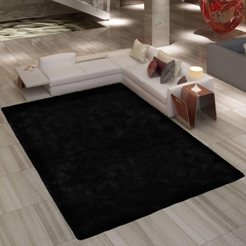 Koberec vysoký vlas 160 x 230 cm - váha 2600 g / m² - černý