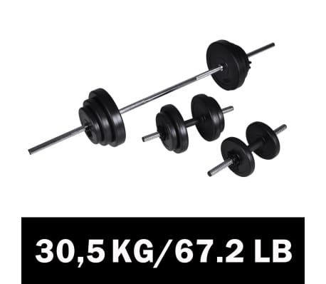 Details about vidaXL Barbell+2 Dumbbell Set 30 5kg Workout Home Gym Fitness  Weightlifting