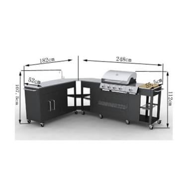 vidaXL gáz grillező 4+1 főzőfelülettel[7/7]