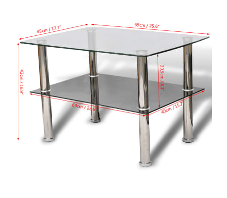 vidaXL Konferenční stolek sklo, 2 patra[5/5]