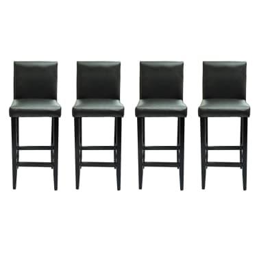 vidaXL Baro kėdės, 4 vnt., dirbtinė oda, juodos[2/5]