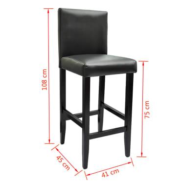 vidaXL Baro kėdės, 4 vnt., dirbtinė oda, juodos[5/5]