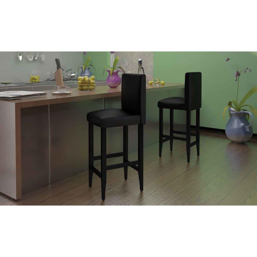 Barové židle 4 ks umělá kůže, černá