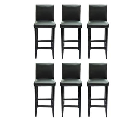 vidaXL Baro kėdės, 6 vnt., dirbtinė oda, juodos[2/5]