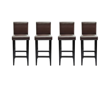 acheter vidaxl tabouret de bar 4 pcs cuir artificiel marron pas cher. Black Bedroom Furniture Sets. Home Design Ideas