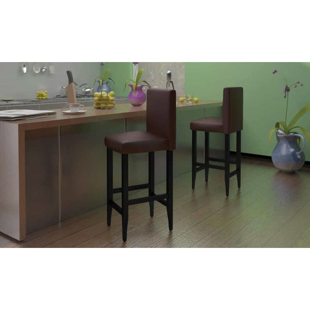 vidaXL Set of 4 Modern Brown Artificial Leather Bar Stool