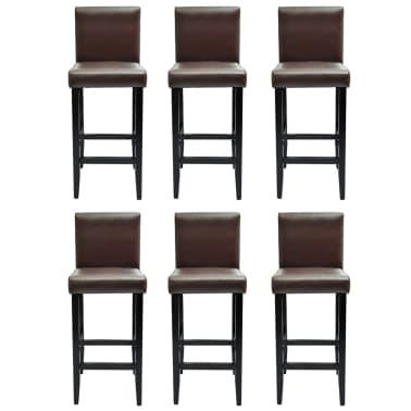 vidaXL Baro kėdės, 6 vnt., dirbtinė oda, rudos[2/5]