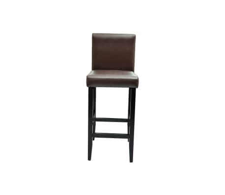 vidaXL Baro kėdės, 6 vnt., dirbtinė oda, rudos[3/5]