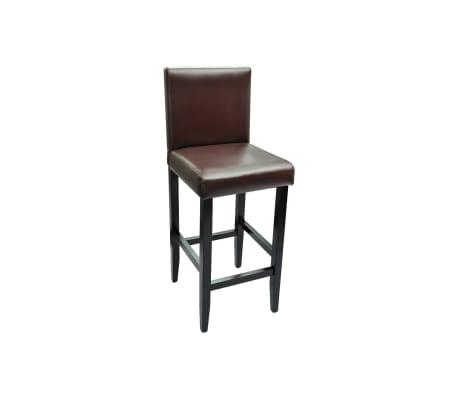 vidaXL Baro kėdės, 6 vnt., dirbtinė oda, rudos[4/5]