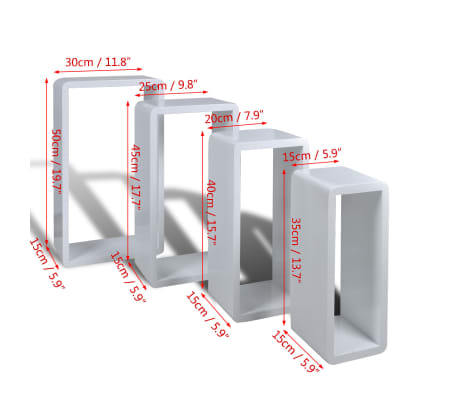 Set 4 rafturi cubice, Alb[6/6]