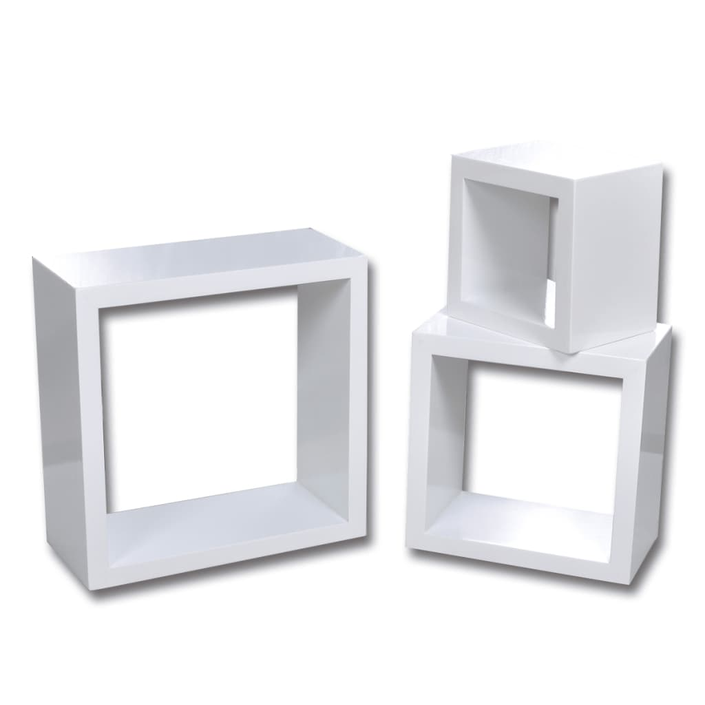 vidaXL Ράφια κύβοι Σετ 3 τεμαχίων Λευκοί