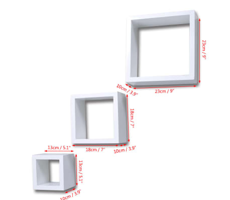 Cube shelf set of 3 white[6/6]