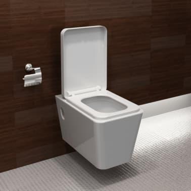 Design WAND-HÄNGE WC/TOILETTE Quadratisch Soft Close Weiß ...