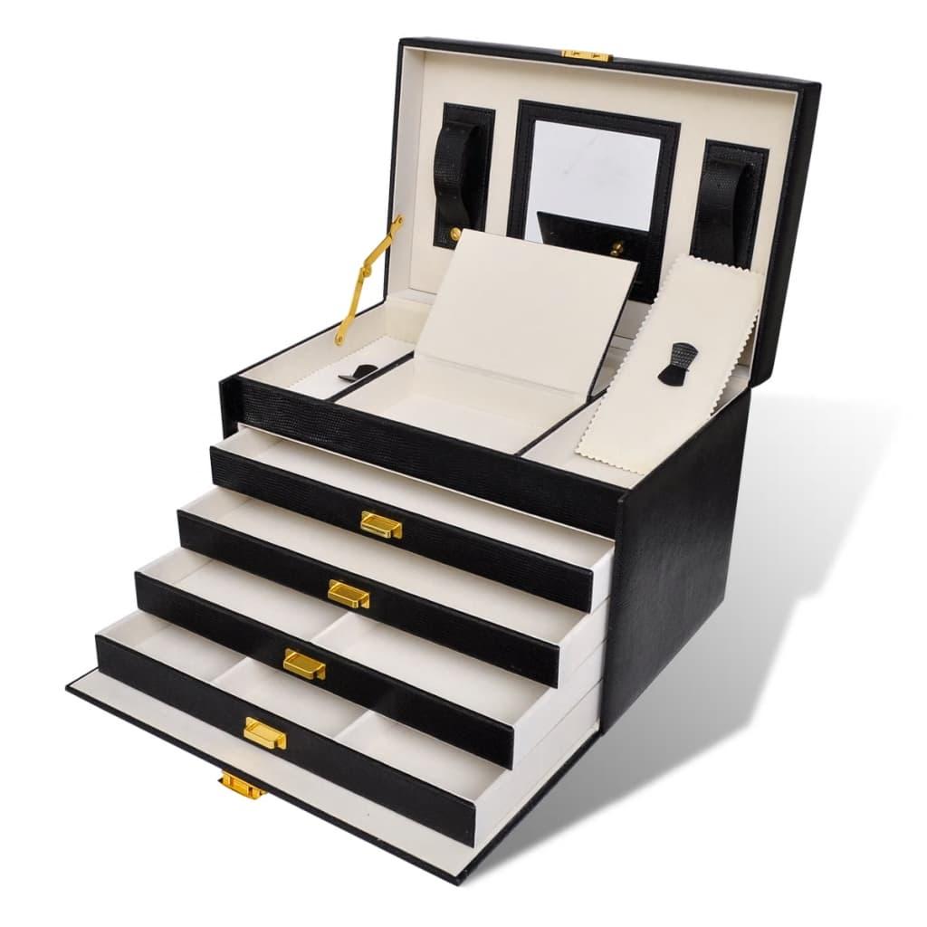 Cutie de bijuterii cu 4 sertare și oglindă poza 2021 vidaXL