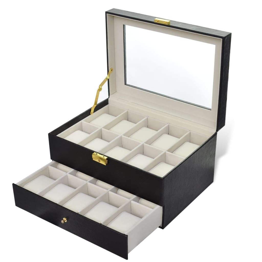 Afbeelding van vidaXL Horloge doos voor 20 horloges