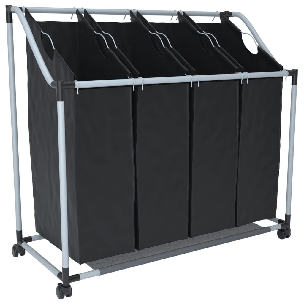 XXL Koš na prádlo se 4 koši na třídění prádla - černo-šedý