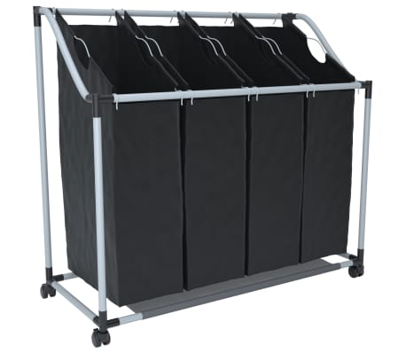 Laundry sorter with 4 bags black grey-picture