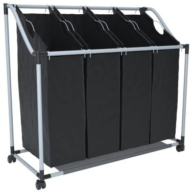 vidaXL Tvättsorterare med 4 påsar svart grå[2/4]