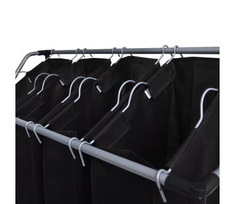 vidaXL Tvättsorterare med 4 påsar svart grå[3/4]