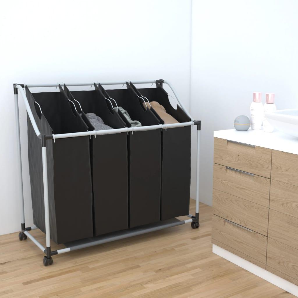 vidaXL Tvättsorterare med 4 påsar svart grå