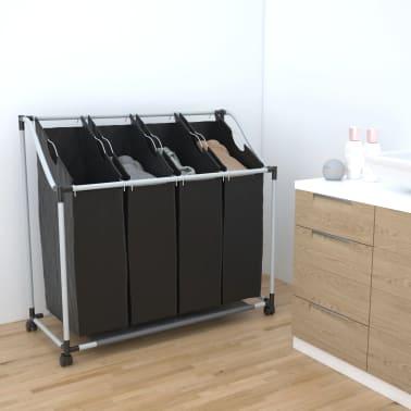 vidaXL Tvättsorterare med 4 påsar svart grå[1/4]