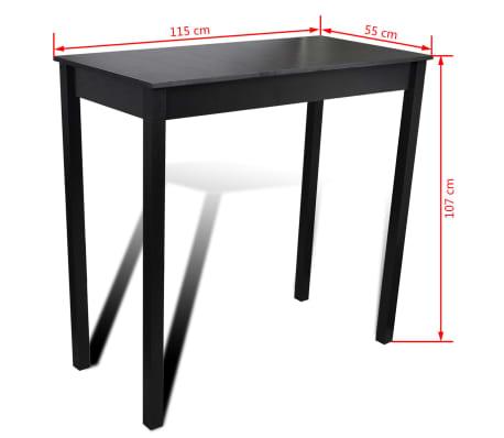 vidaXL Baro stalas, MDF, juodas, 115x55x107 cm[4/4]