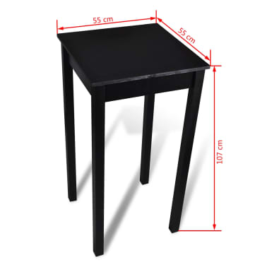 vidaXL bāra galds, 55x55x107 cm, melns MDF[4/4]