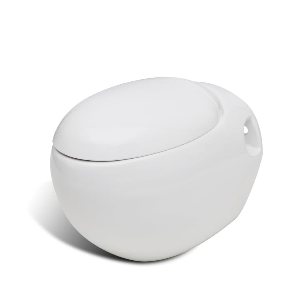 Nové závěsné bílé WC vejčitého tvaru, jedinečný design