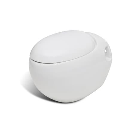 vidaXL Toaleta wisząca o oryginalnej formie jaja, biała[1/6]