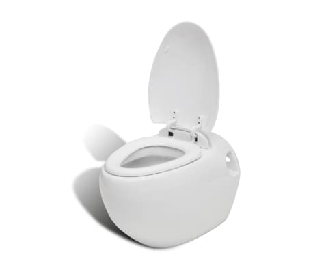 vidaXL Toaleta wisząca o oryginalnej formie jaja, biała[5/6]