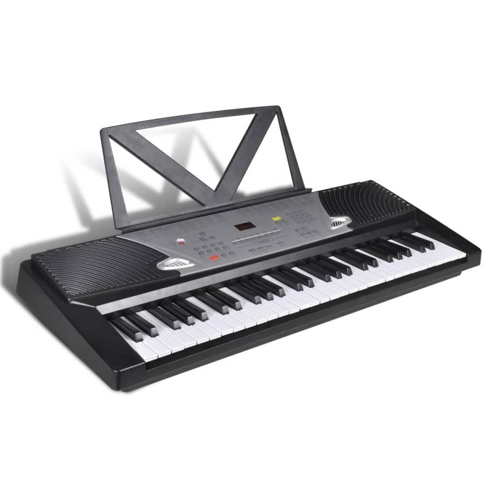 Claviatură electronică 54 clape cu suport note muzicale poza 2021 vidaXL