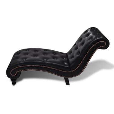 vidaXL Chaise longue couro artificial castanho[3/6]
