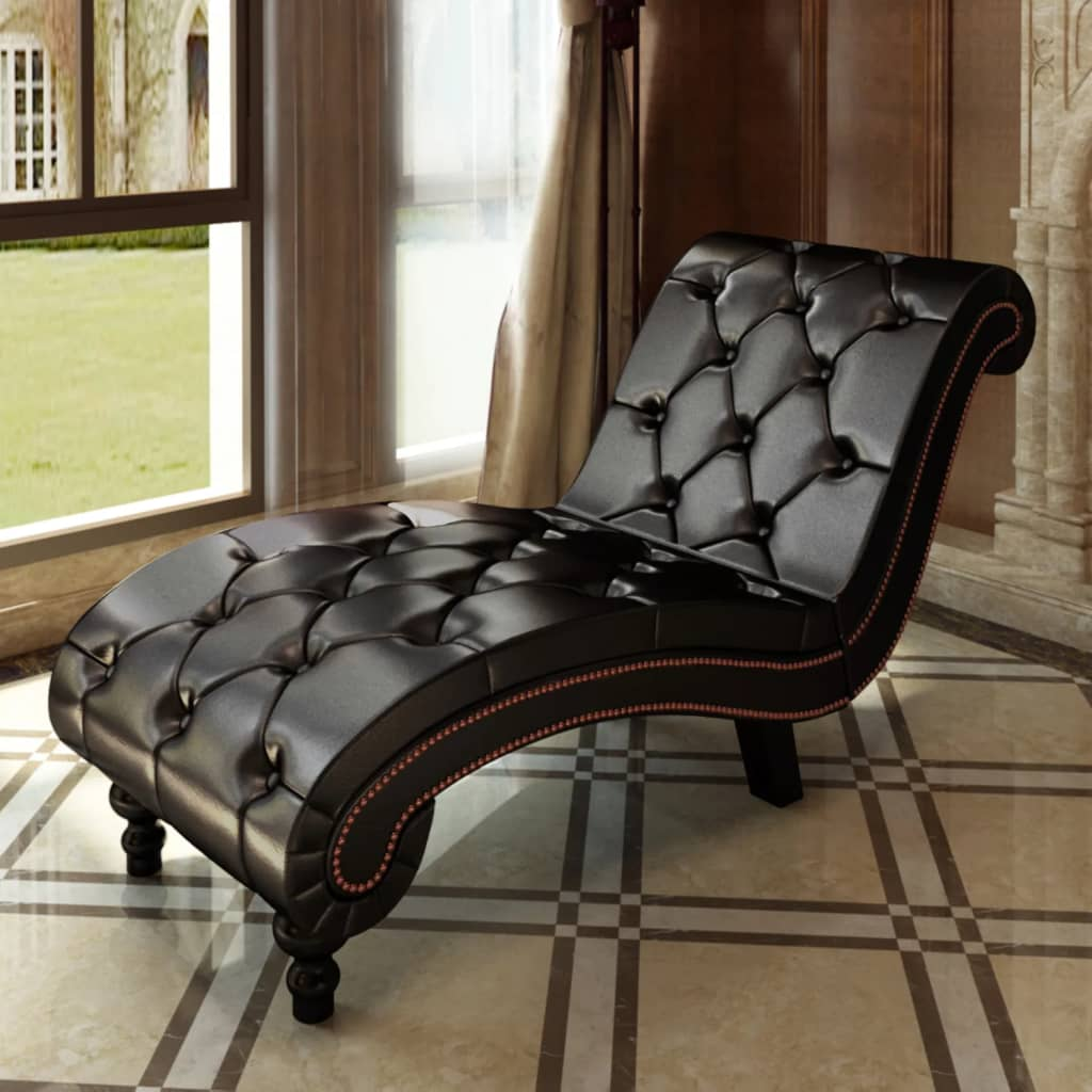 vidaXL Chaise Lounge with Buttons Artificial Leather Brown