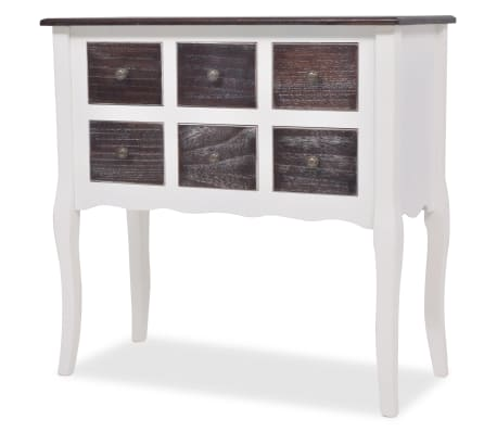 vidaXL Console Cabinet 6 Drawers Brown and White Wood[2/7]