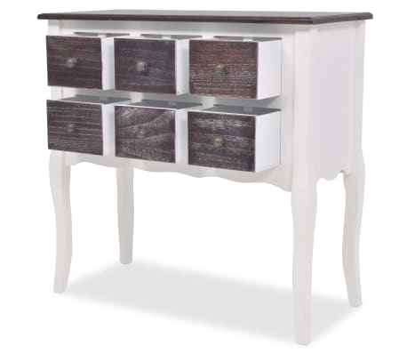 vidaXL Console Cabinet 6 Drawers Brown and White Wood[4/7]
