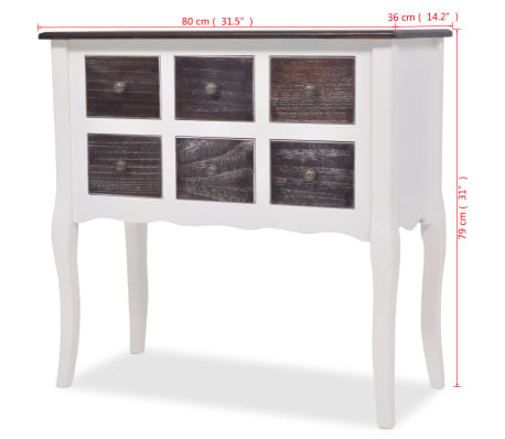 Console Cabinet 6 Drawers Brown And White Wooden[7/7]