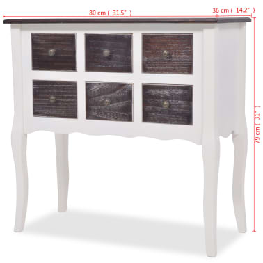 vidaXL Console Cabinet 6 Drawers Brown and White Wood[7/7]