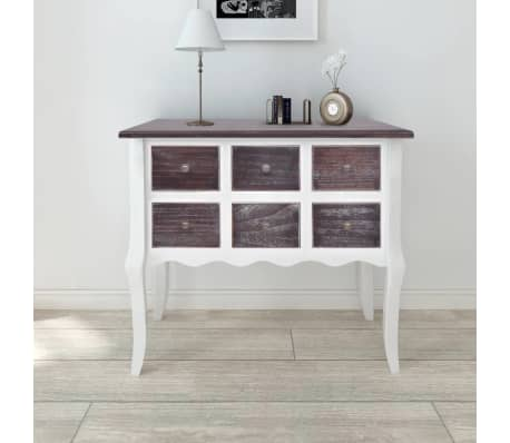 vidaXL Console Cabinet 6 Drawers Brown and White Wood[1/7]